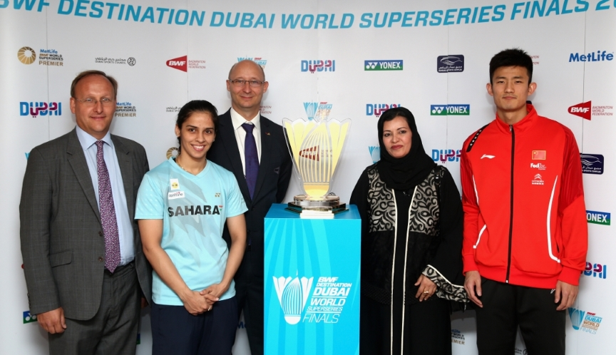 Star players Saina Nehwal (2nd from left) and Chen Long (right) along with (from left) Alastair Ruxton, Commercial and Legal Director at Falcon and Associates; Thomas Lund, Secretary General of BWF and Dr Aysha Abulsmait, Director of Communication and Marketing, Dubai Sports Council.