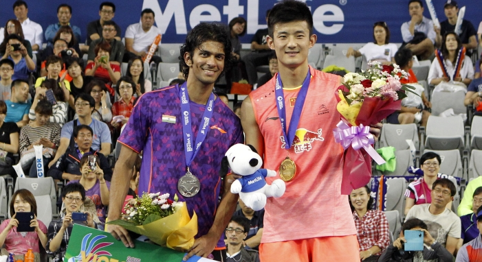 China's Chen Long (right) and Ajay Jayaram of India