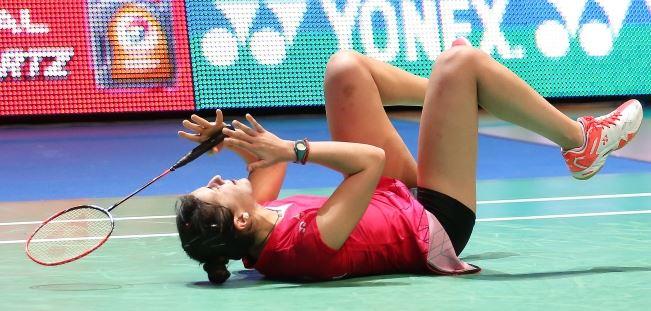 Spain's Carolina Marin celebrates