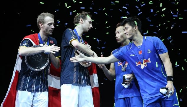 Men's Doubles winners Carsten Mogensen and Mathias Boe