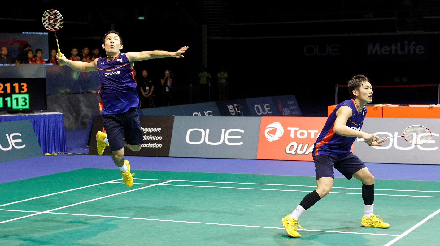 Singapore Open 2016 - Day 6 - Takeshi Kamura & Keigo Sonoda of Japan