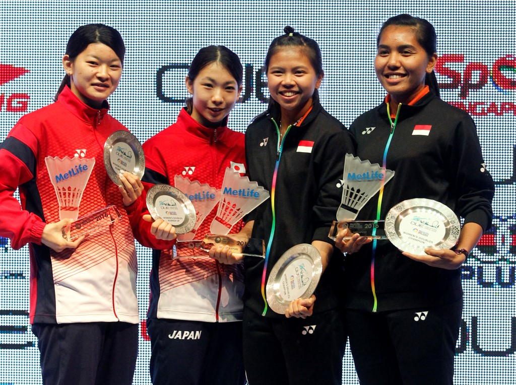 Singapore Open 2016 - Day 6 - Women's Doubles presentation ceremony