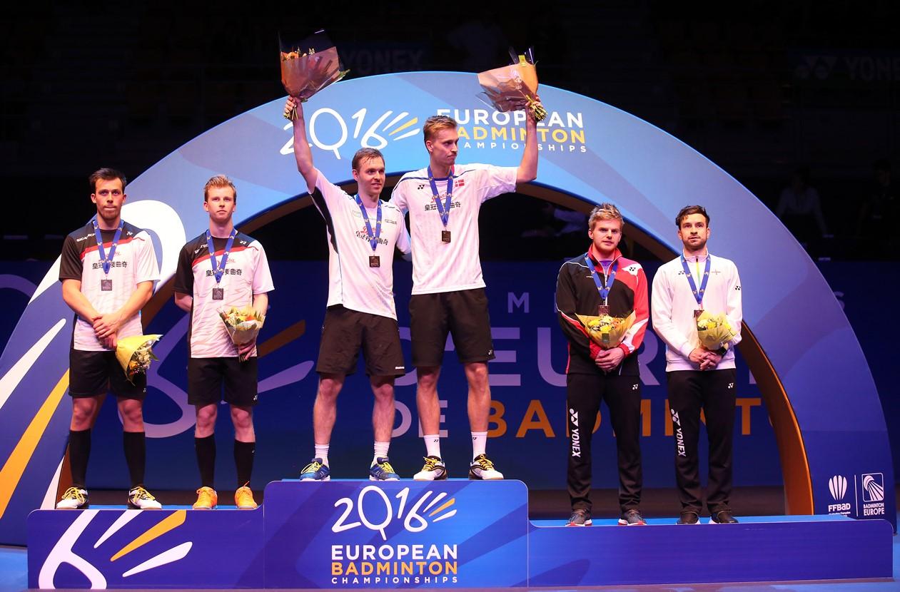 European Champs - Day 6 - Men's Doubles medallists