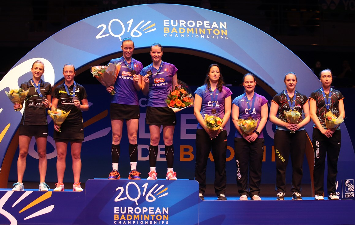 European Champs - Day 6 - Women's Doubles medallists