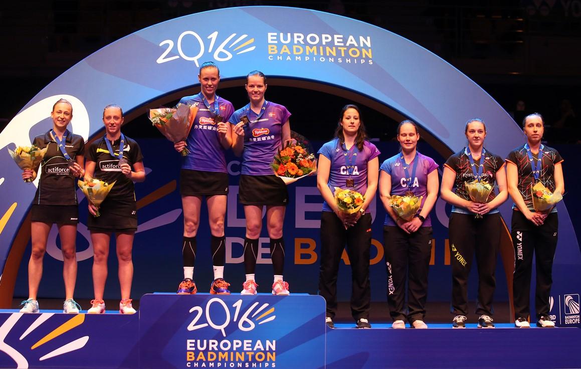 European Champs - Day 6 - Women's Doubles medallists