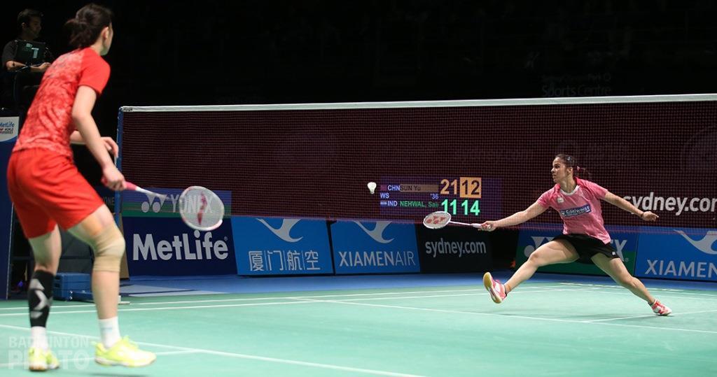 Australian Open 2016 - Day 6 - Sun Yu of China & Saina Nehwal of India