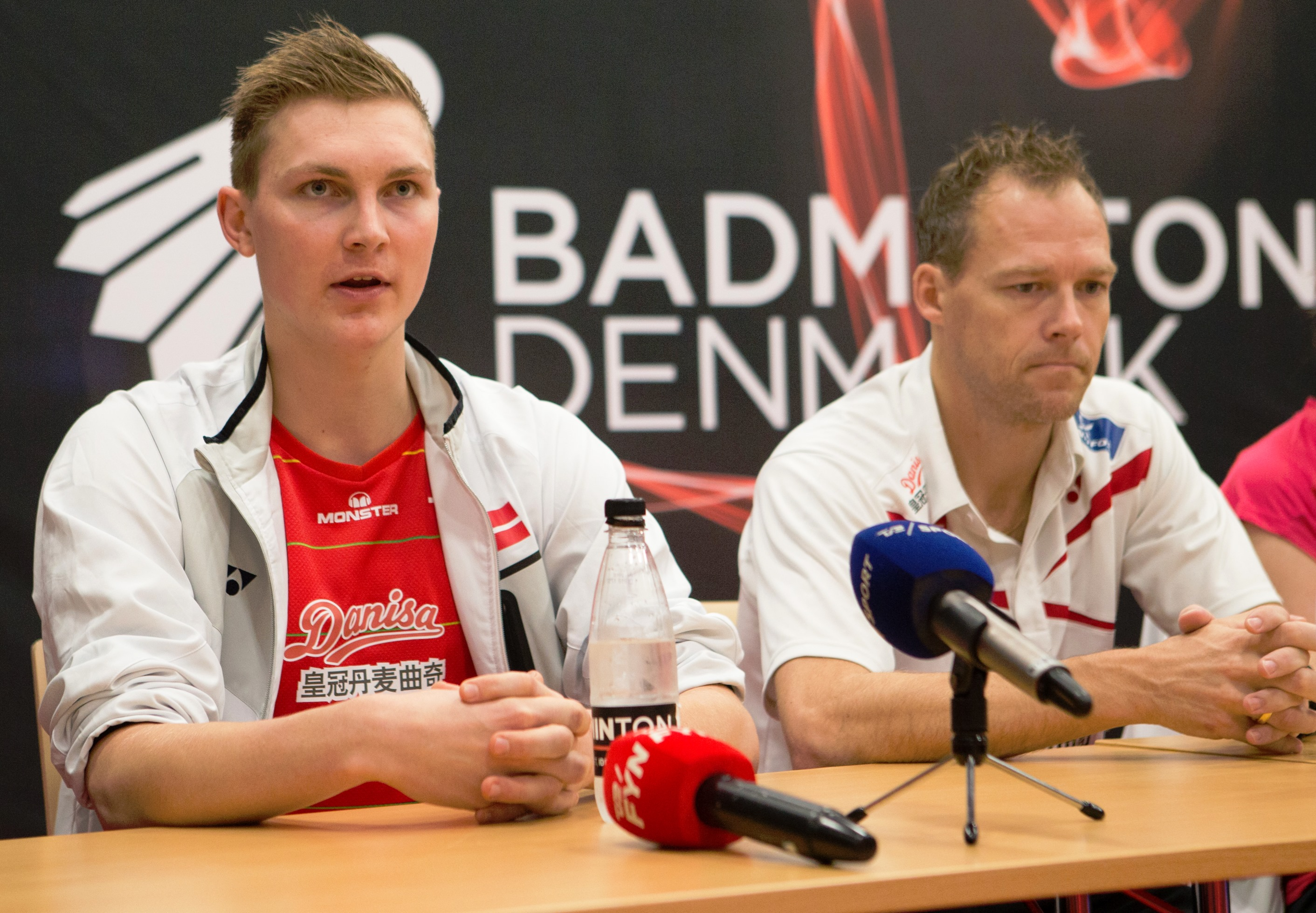 Viktor Axelsen (left) and Kenneth Jonassen