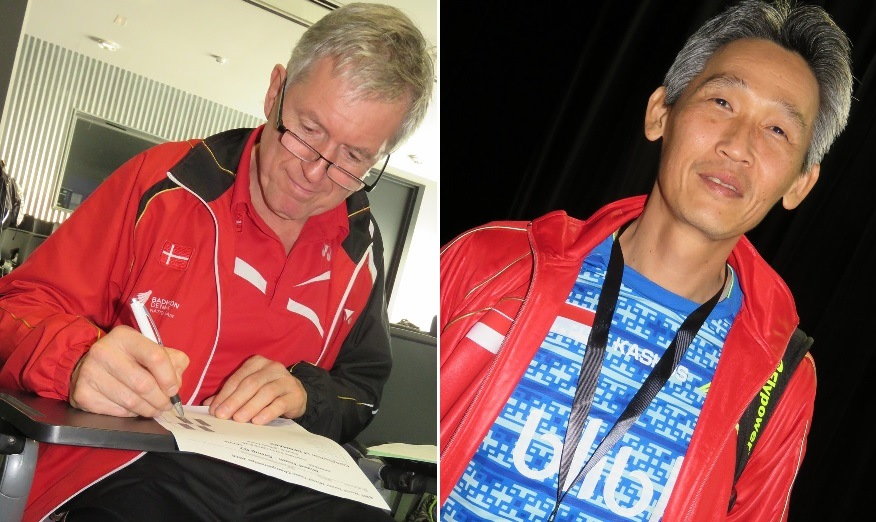 Denmark Team Manager Bo Ømosegaard (left) and Indonesia Team Manager Fung Permadi