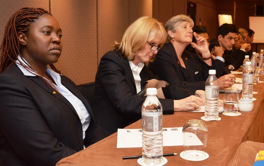 BWF Council Members (from left) Chipo Zumburani, Nora Perry, Geraldine Brown, Dagmawit Girmay Berhane (partly hidden) and Yuhan Tan listen to the deliberations over host cities for BWF Major Events.